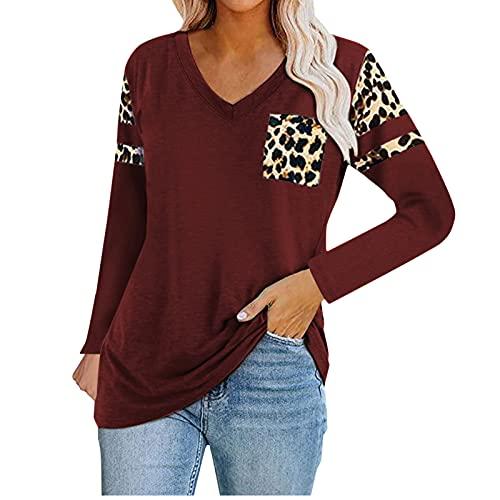 JKRTR - Camisa para mujer, diseño de leopardo con cuello en V, informal, de manga larga, Vino, S