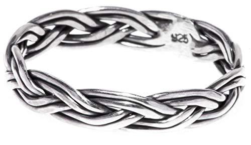 WINDALF Schmaler Flecht Ring RANA h: 0.3 cm Wikinger Schmuck 925 Stelingsilber (Silber, 56 (17.8))