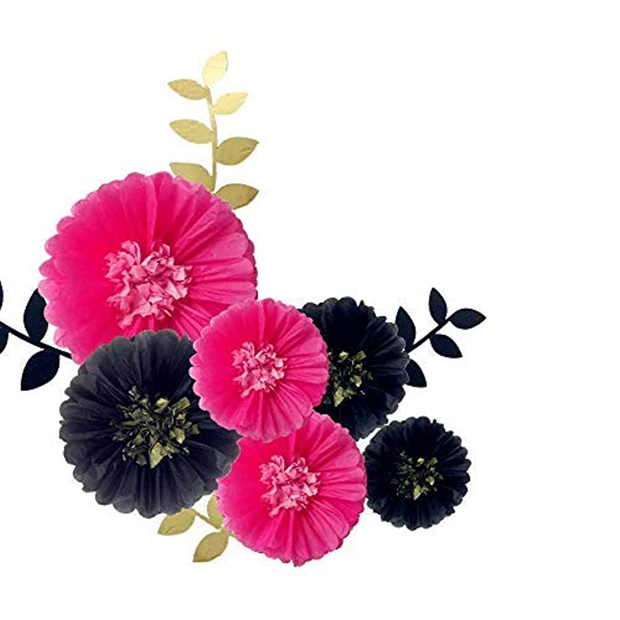Fonder Mols Paper Flowers Tissue Paper Chrysanth Blooms(Black & Hot Pink, 6pcs) for Bachelorette Backdrop, Bridal Shower Decorations, Girl Women Party Decor