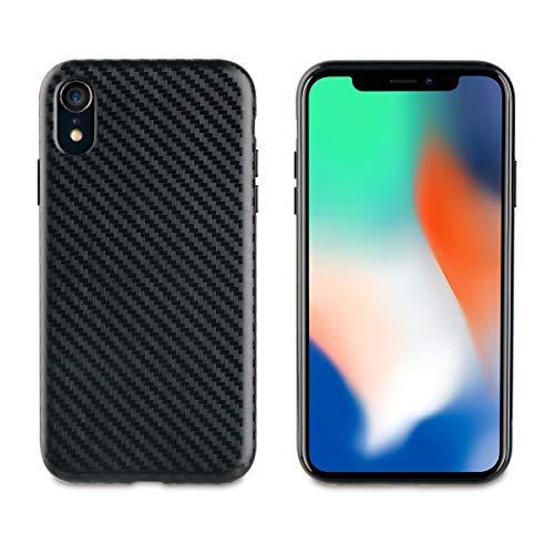 Muvit Cristal Soft - Funda para Apple iPhone XR (Fibra Carbono) Color Negro