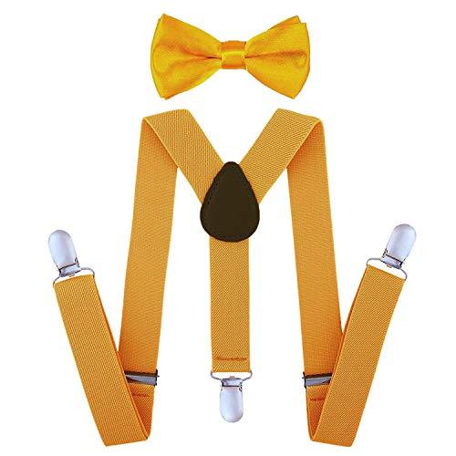 SUNTRADE Kinder-Hosenträger mit elastischer Y-Form, verstellbar mit Clips und Fliege für Jungen und Mädchen (Gold)