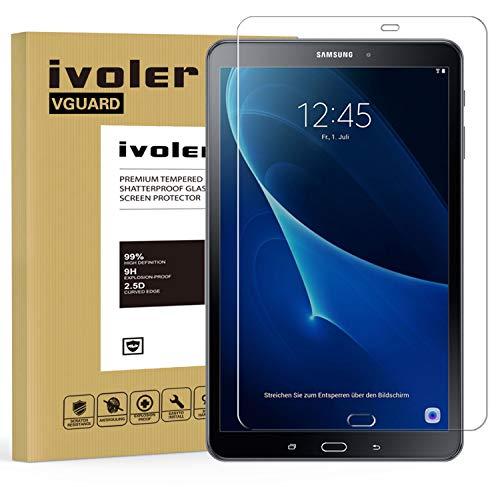 ivoler Protector de Pantalla para Samsung Galaxy Tab A 10.1 Pulgadas 2016 (T580/T585), Cristal Vidrio Templado Premium [9H Dureza] [Alta Definicion 0.3mm] [2.5D Round Edge]