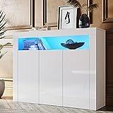 SONNI Sideboard Kommode Weiss Hochglanz mit LED(12 Farben können eingestellt Werden) 3 Türen Schrank Komodenschrank Sideboard für Küche Esszimmer Wohnzimmer B116xH93xT35cm