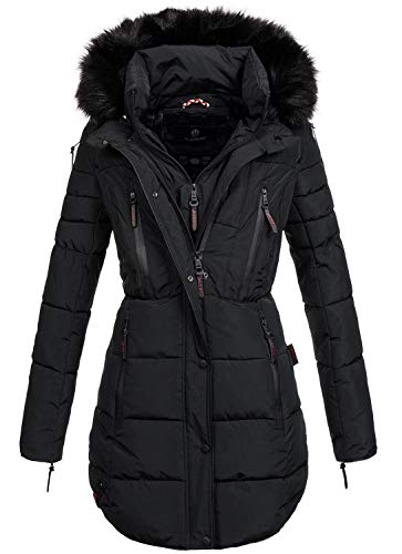 Marikoo warme Damen Winter Jacke Winterjacke Parka Stepp Mantel lang B401 [B401-Moonshine-Schwarz-Gr.XXL]