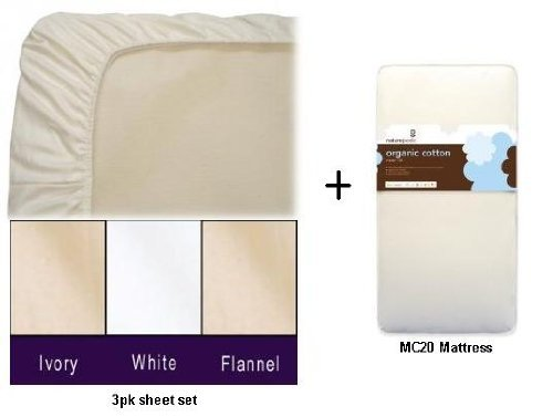 Lowest Prices! Naturepedic MC20 No-Compromise Organic Classic Baby Crib Mattress with 3pk Organic Cr...