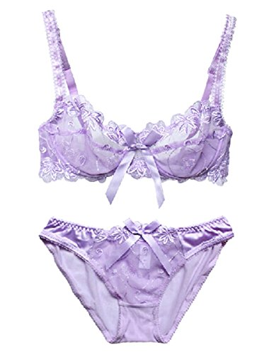 Nanier Soft BH set Für Damen, Sexy, Transparente, Mit Stickerei, Violett, 95D