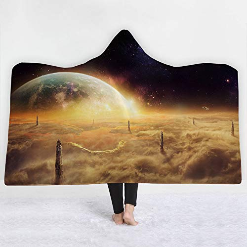 FimGGe Soft Thick Kapuzendecke Universum Sternenhimmel Winterbett Throw Warm Tragbare Decke Sherpa Fleece Joyous Cobija Cobertor-130cm * 150cm