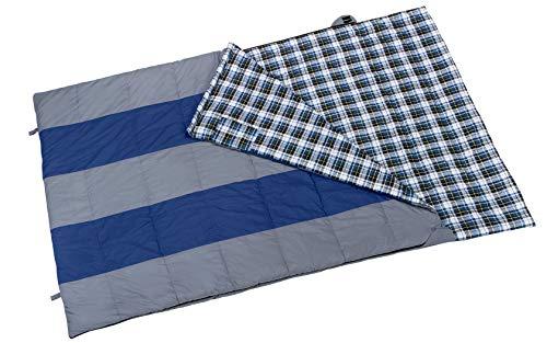 Berger Deckenschlafsack Torino Double, grau blau, als Decke verwendbar, Flauschiges Flanellfutter 100% Baumwolle