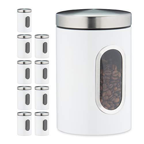 Relaxdays 10 x Vorratsdose, 1,4 L, mit Deckel und Sichtfenster, für Kaffee, Mehl, Pasta, Aufbewahrungsdose Küche, Metall, weiß