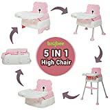 BAYBEE Beautiful-The Convertible Baby High Feeding Chair Cum Study Table with Cushion (Pink 5in1)