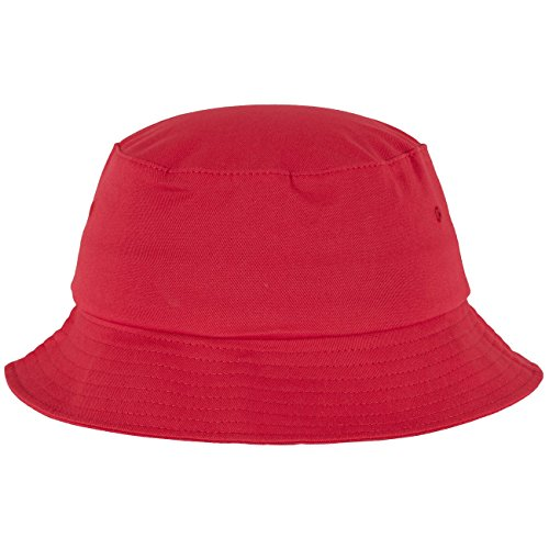 Flexfit Cotton Twill Bucket Hat - Unisex Anglerhut für Damen und Herren, einfarbig, mit patentiertem Flexfit Band, Farbe Rot, one size