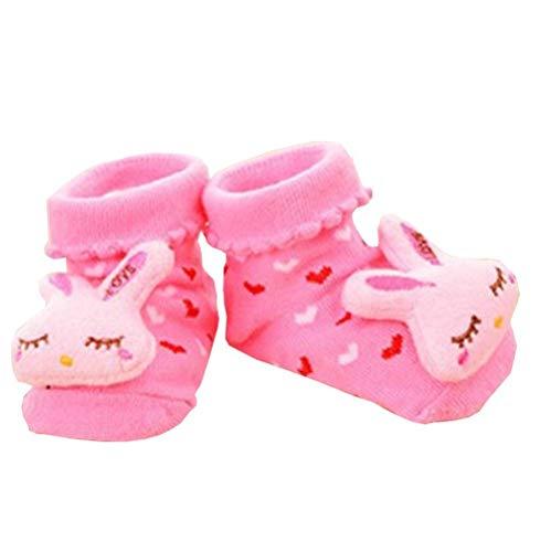 Antislip sokken - kinderen - babys - 0/12 maanden - fantasie - konijn - fuchsia harten - mannelijk - vrouwelijk - unisex