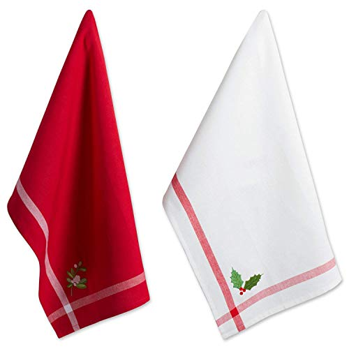 "Cotton Christmas Kitchen Towels, 18x28"" Set of 2, Holly & Mistletoe."