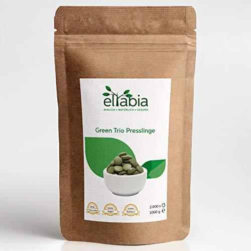 eltabia Green Trio Presslinge 1000g 1kg Maxi Pack 4000 Tabletten Mix aus Chlorella, Spirulina und Gerstengras