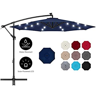 Best Choice Products 10ft Solar LED Offset Hanging Outdoor Market Patio Umbrella w/Easy Tilt Adjustment - Navy Blue