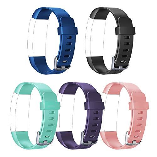 Letsfit Ersatzbänder geeignet für Fitness Armband Uhr ID132Color HR, verstellbare Zubehörbänder mit Gürtelschnalle