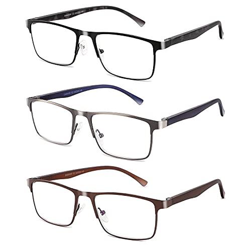 CRGATV 3-Pack Reading Glasses for Men Blue Light Filtering Full Frame Metal Readers Anti Uv/Eye...