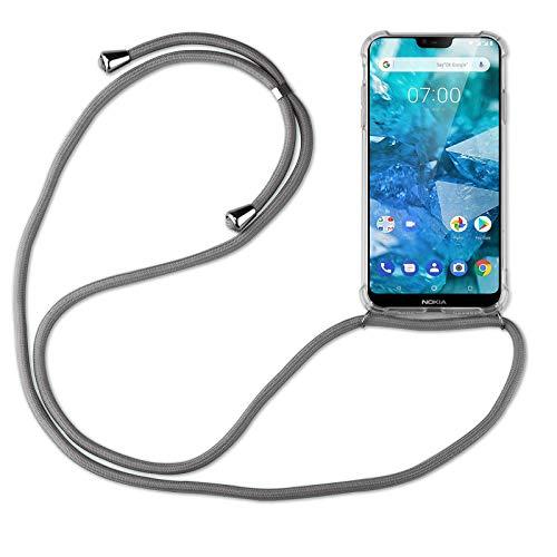 betterfon   Handykette kompatibel mit Nokia 7.1 Smartphone Necklace Hülle mit Band - Schnur mit Hülle zum umhängen in Nokia 7.1 Grau