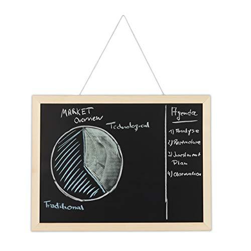 Relaxdays Kreidetafel mit Holzrahmen, abwischbare Tafel, Büro Memoboard, Wandtafel zum Aufhängen, 40 x 60 cm, schwarz