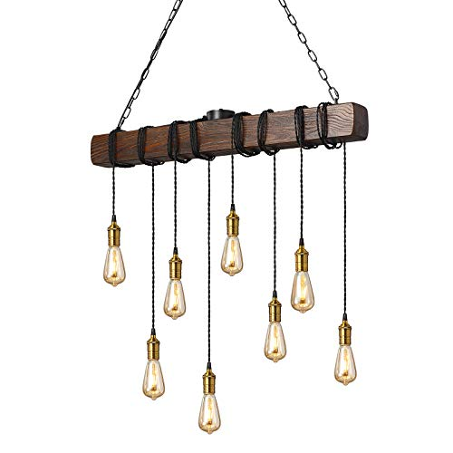 KJLARS Iluminación colgante industrial retro Lámparas de araña de suspensión en metal negro y madera lámpara colgante rústica ideal en un salón retro Cocina rústica Salón 95cm haz (8 luces)