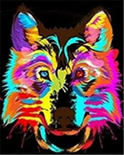 TLETEL Pintar por Numeros Adultos Perro De Color Niños DIY Pintura por Números con Pinceles Y Pinturas 40 X 50 Cm
