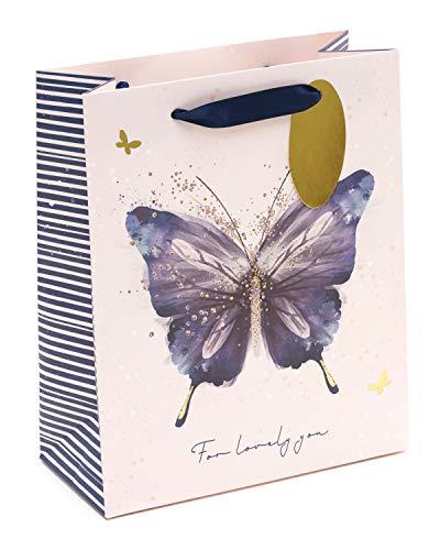 Rosa Geschenktüte für Damen – perfekt für eine Vielzahl von Anlässen – hübsche Geschenktasche mit Schmetterling-Design – Geburtstagsgeschenk für Sie – Geschenkkarte für Sie Medium, Geschenktasche