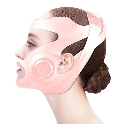 XWZ Máquina De Estiramiento Facial De Microcorriente EMS, Masajeador De Máscara De Mejillas Adelgazante De Cara Delgada En Forma De V Eléctrica, Máquina De Estiramiento Facial,Rosado