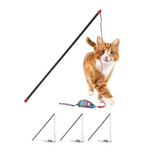 Relaxdays 4 x Katzenangel mit Maus, Training & Beschäftigung, interaktiv, Katzenspielzeug, Cat Stick L: 47 cm, Spielangel, bunt