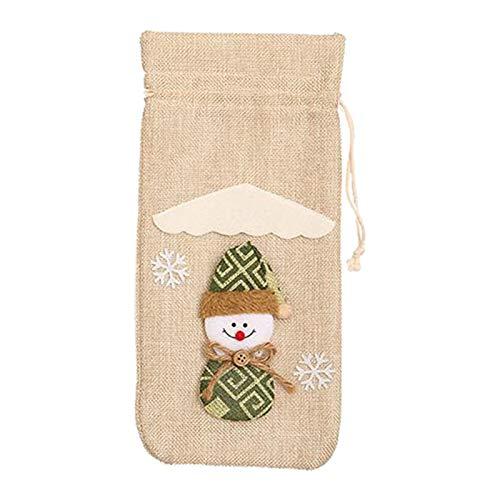 Harilla Bolsas de Regalo de La Cubierta de La Botella de Vino de Papá Noel Vestido Decoración de La Decoración de La Navidad - Beige, Individual