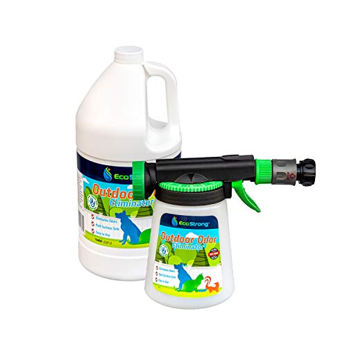 Eco Strong Outdoor Odor Eliminator | Outside Dog Urine Enzyme Cleaner – Powerful Pet, Cat, Animal Scent Deodorizer | Professional Strength for Yard, Turf, Kennels, Patios, Decks (Gallon with Sprayer)