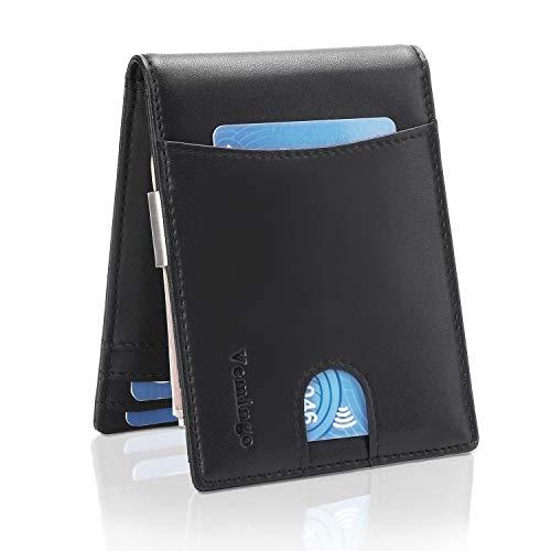 Vemingo Herren Geldbeutel Geldbörse mit Geldklammer & Münzfach | RFID Blocker Kreditkartenetui Karten Portemonnaie | Dünne Brieftasche Portmonee für Männer XB-036 Schwarz