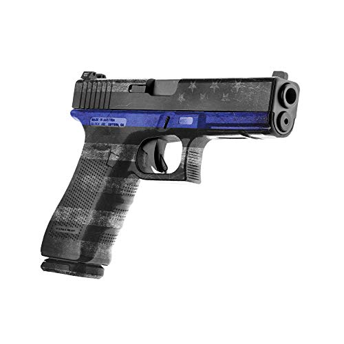 GunSkins Pistol Skin - Premium Vinyl Gun Wrap with Precut Pieces - Easy to Install and Fits Any Handgun - 100% Waterproof Non-Reflective Matte Finish - Made in USA - GS Thin Blue Line