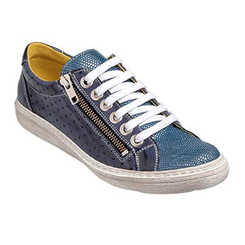 Chacal Shoes - Zapatos Casual de Mujer - máximo Confort - Zapatos Casual de Cuero 100% - Fácil Calzado - Color Azul en Talla EU 39