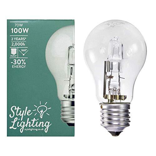 5 x Style Lighting Lampadina Alogena a Risparmio Energetico Super Brillante 70 W Corrispondenti a 100 W Attacco Grande ES E27