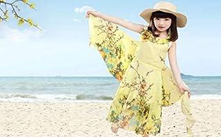 Girl's Beach Dress Lace Veil Bohemia Printing Maxi Dress Chiffon Princess Dress Yellow Khx12 130cm
