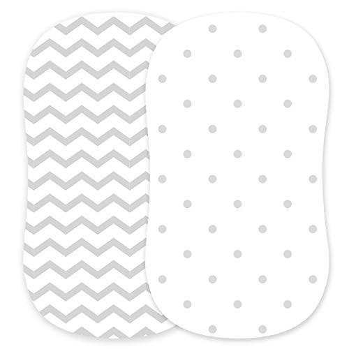 Cuddly Cubs Bassinet Sheets Set – 2 Pack – Snuggly Soft Jersey Cotton Cradle Sheets – Fitted Perfectly for Halo Bassinet, Fisher Price, Delta, Graco and Other Oval, Rectangle Basinette - Grey Dots