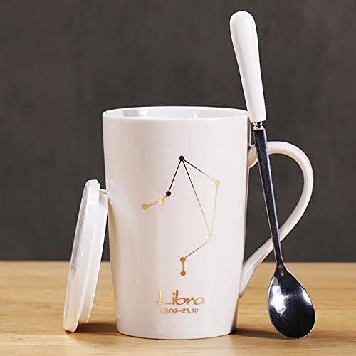 Moderne Porzellan-Kaffee-Geschenktasse für Waage, Sternbild, Kaffeetasse mit Keramikdeckel und Edelstahl-Löffel, Wasser, Tee und Milch, Becher für Zuhause und Büro, 450 ml