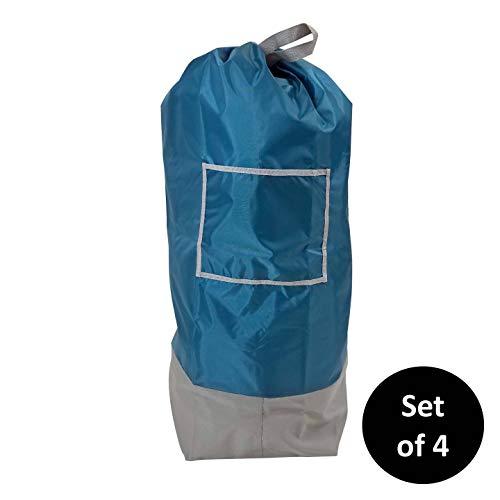HOMZ Oversized Shoulder Strap Royal Blue Set of 4 Fabric Laundry Bag 25 x 38