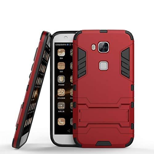 Funda Huawei G8 / G7 Plus, MHHQ 2in1 Armadura Combinación A Prueba de Choques Heavy Duty Escudo Cáscara Dura PC + Suave TPU Silicona Rubber Case Cover con soporte para Huawei G8 / G7 Plus -Red