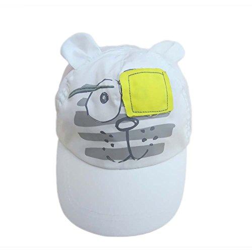 Gorra de béisbol del Muchacho Sombreros de Sol para niños Sombreros de Playa Sombrero Blanco en Lindo patrón de Tigre (Blanco Tigre, 50cm)