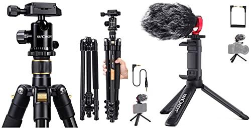 K&F Concept 62'' DSLR Tripod, Lightweight and Compact Aluminum Camera Tripod with 360 Panorama Ball Head&K&F Concept Camera Shotgun Microphone Kit with Mini Tripod,Windscreen