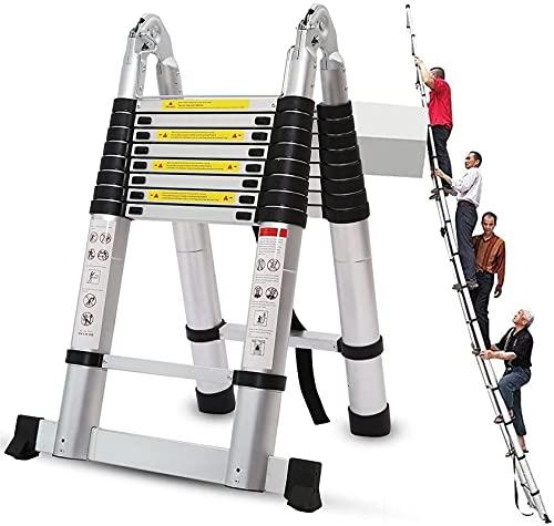 XnalLKJ Escalera Telescópica Pies De La Escalera Plegable De Extensión De Aluminio, Extensión Plegable De Resistencia Pesada A-Marco Pasos con La Barra Estabilizadora (Size : 1.3m+1.3m/4.2ft+4.2ft)