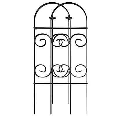 Amagabeli Garden Fence 32inx10ft Decorative Garden Fencing 8 Panels Rustproof Black Iron Border Fence Edging Metal Wire Fencing Animal Barrier for Outdoor Patio Vinyl Flower Bed Vegetable Folding FC02