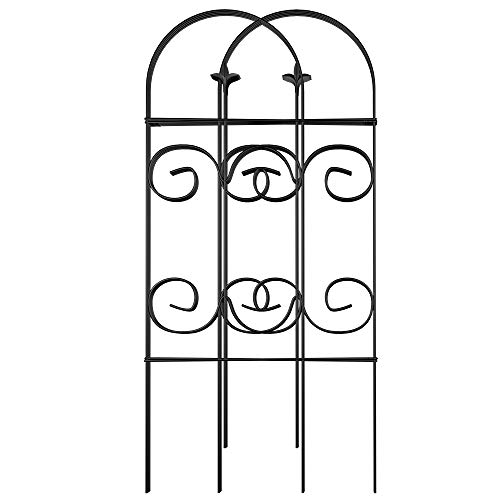 Amagabeli 32inx10ft Decorative Garden Fence GFP006 Garden Fencing 8 Panels Rustproof Black Iron...