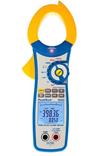 PeakTech 1655 – True RMS Stromzange 1500A AC/DC, 40000 Counts, Digital Multimeter, Zangenmessgerät, TÜV/GS, Strommesszange, Berührungsloser Spannungsmesser, Strommessgerät, Durchgangsprüfer -Max 600V