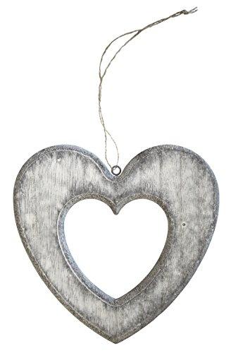 Holz Deko Hänger Herz mit Kordel (grau, 20cm)