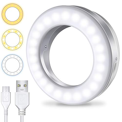 Meifigno Selfie Ring Light [3 Light Modes] [Rechargeable], Clip on Phone Camera LED Light, Adjustable Brightness Selfie Circle Light for iPhone X Xr Xs Max 7 8 Plus 11 Pro Android iPad Laptop