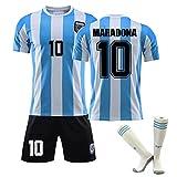 JTYDFG Camiseta De Fútbol para Hombre, Camiseta De Fútbol Clásica Retro De Maradona para El Mundial De Argentina De 1986, Camisetas con Calcetines para Adultos Y Niños,Blue White,26