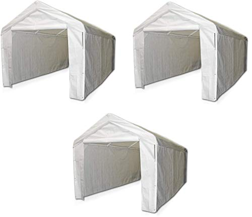 Caravan Canopy 12000211010 Side Wall Kit for Domain Carport, White (Top and Frame Not Included) (Pack of 3)