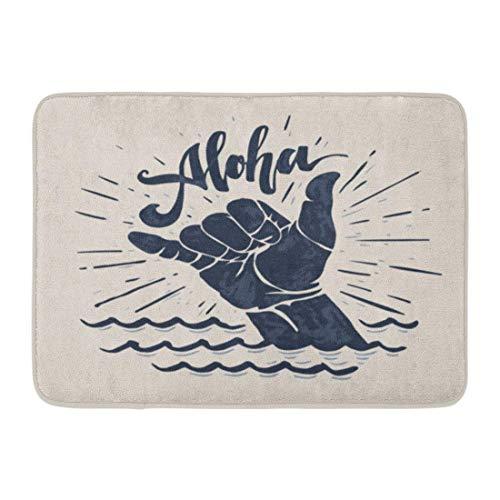 Fußmatten Bad Teppiche Outdoor/Indoor Fußmatte Surf Aloha Schriftzug Surfen Shaka Handzeichen Surfer Wave Board Grafik Badezimmer Dekor Teppich Badematte